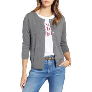 1901 Cotton Blend Cardigan Sweater XL Button Up 3/4 Sleeve Scoop Neck Gray NWT